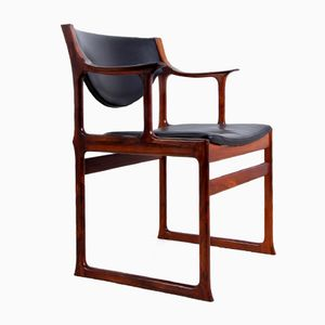 Danish Solid Rosewood and Leather Desk Chair, 1950s
