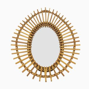 Oval Bamboo and Rattan Mirror, 1960s