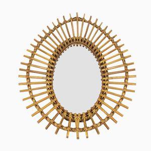 Ovaler Spiegel mit Rahmen aus Bambus & Rattan, 1960er