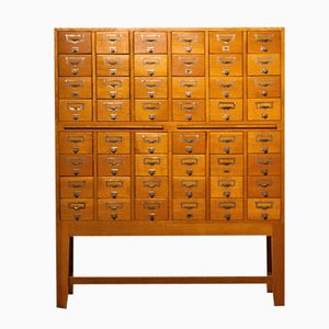 Vintage Oak Filing Cabinet with 48 Drawers