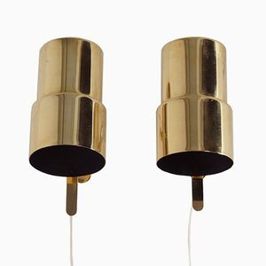 Brass Wall Lamps from Hans Agne Jakobsson AB, 1970s, Set of 2