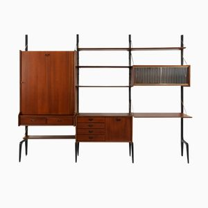 Teak Wall Unit with Hidden Table by Louis Van Teeffelen for Wébé, 1950s