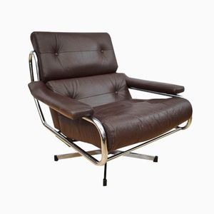 British Alpha Leather Swivel Armchair by Tim Bates for Pieff, 1970s