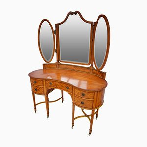 Antique Edwardian Burr Satinwood Dressing Table with Triptych Mirror