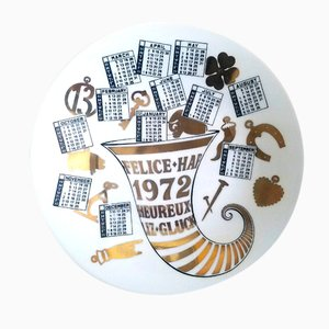 Year 1972 Porcelain Calendar Plate by Piero Fornasetti