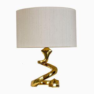 French Snake Brass Lamp, 1970s