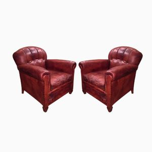Leather Club Chairs from Souplex, 1930s, Set of 2