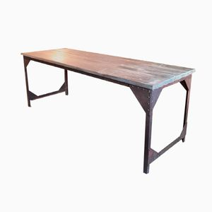 french industrial wood u0026 metal dining table