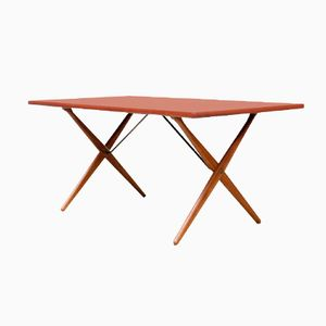 Model AT 303 Cross Leg Dining Table by Hans Wegner for Andreas Tuck, 1950s