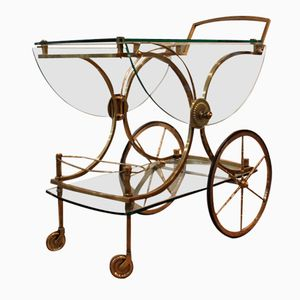 French Brass & Glass Serving Trolley, 1950s