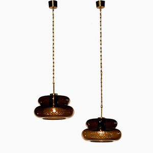 Smoked Glass Bubblan Pendants by Carl Fagerlund for Orrefors, 1970s, Set of 2