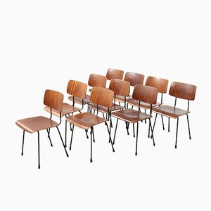 Vintage Nr. 1262 Teak Schichtholz Esszimmerstühle von Andre Cordemeyer für Gispen, 10er Set