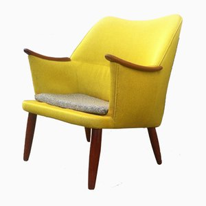 Danish Mid-Century Modern Easy Chair in Yellow Wool with Teak Accents, 1950s