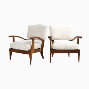 French Oak & White Fleece Armchairs, 1930s, Set of 2