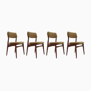 Scandinavian Olive Green Dining Chairs, 1960s, Set of 4