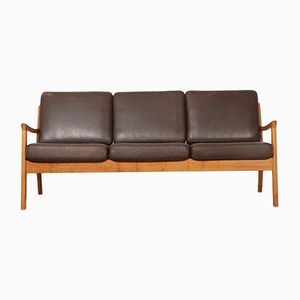 Vintage Senator Series Teak and Leather Sofa by Ole Wanscher for Cado
