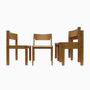 Scandinavian Minimalist Beech Chairs, 1970s, Set of 4