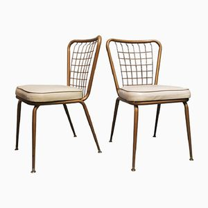 Bronzed Metal & Wire Chairs, 1950s, Set of 2