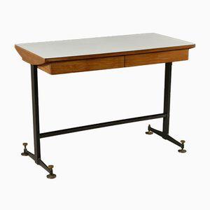 Mid-Century Italian Mahogany & Metal Desk with Formica Top