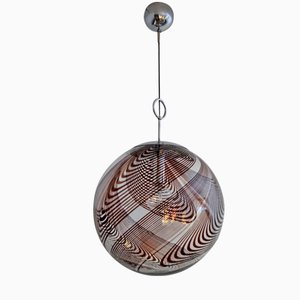 Murano Chocolate Swirl Glass and Chrome Globe Pendant, 1960s