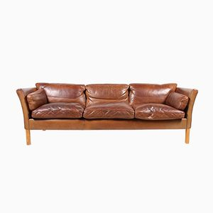 Danish Three-Seater Brown Leather Sofa from Stouby, 1980s
