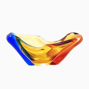 Czech Glass Bowl by Hana Machovska for Mstišov / Moser, 1960s