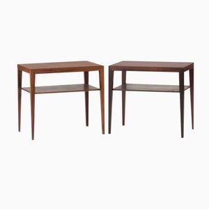 Tables de Chevet en Palissandre par Severin Hansen pour Haslev, Danemark, Set de 2