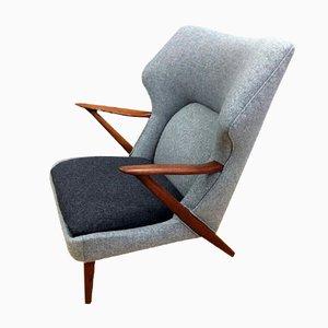 Dänischer Teak & Wolle Sessel von Kurt Olsen für Slagelse Mobelvaerk, 1955