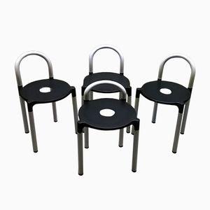 Plastikstühle in Schwarz & Weiß von Anna Castelli Ferrieri für Kartell, 1970er, 4er Set