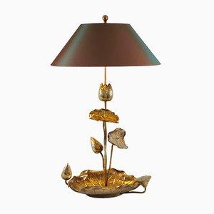 Hollywood Regency Brass Lotus Table Lamp, 1950s
