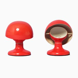 Rote Jucker Tischlampen von Afra & Tobia Scarpa für Flos, 1960er, 2er Set