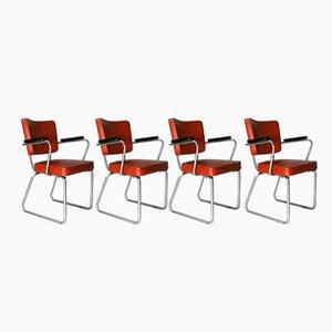Chaises de Bureau Modèle 352 Vintage par Christoffel Hoffman pour Gispen, 1950s, Set de 4