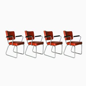 Vintage Model 352 Office Chairs by Christoffel Hoffman for Gispen, 1950s, Set of 4