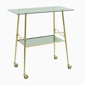 Smoked Glass & Brass Serving Trolley, 1950s