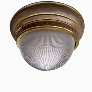 Large French Industrial Ceiling Light from Holophane, 1908