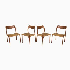 Model 71 Dining Chairs by Niels O. Møller for J.L. Møller, 1960s, Set of 4