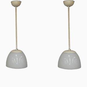 Opaline Glass Pendant Lamps from Gispen, 1930s, Set of 2