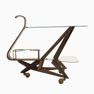 Italian Mid-Century Bar Cart with Brass Details, 1950s