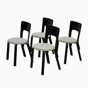 Modell 66 Esszimmerstühle von Alvar Aalto für Artek, 1950er, 4er Set