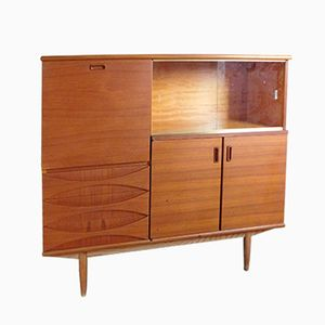 Large Teak Sideboard with Sliding Glass Doors, 1960s