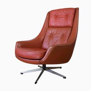 Danish Leather Swivel Chair by H.W. Klein for Bramin Møbler, 1960s