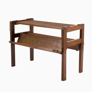 Oak & Leather Coffee Table by Jacques Adnet, 1930s