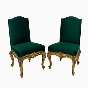 Chaises d'Appoint Antique en Bois Doré, Espagne, Set de 2