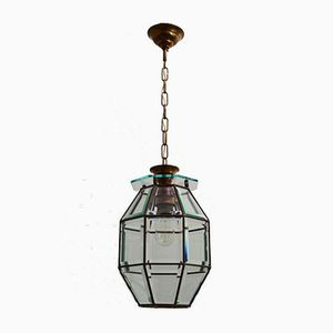 Mid-Century Italian Brass & Cut Glass Lantern Pendant