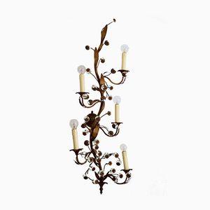 Regency Style Brass & Glass Decorative Five-Arm Wall Sconce, 1960s