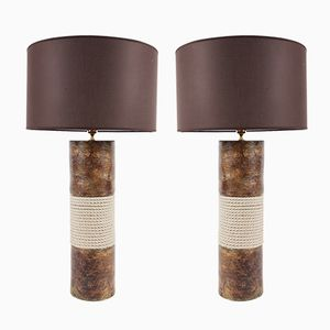 Brown Ceramic & Rope Lamps, 1970s, Set of 2