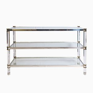 Vintage Three-Tier Lucite, Brass, and Aluminum Console