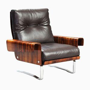 Vintage Italian Rosewood & Leather Armchair
