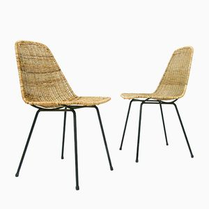 Mid-Century Rattan Chairs by Campo e Graffi for Home, Set of 2