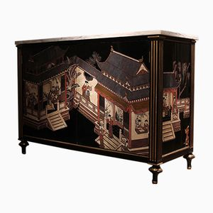 Antique Chinoiserie Buffet with Marble Top